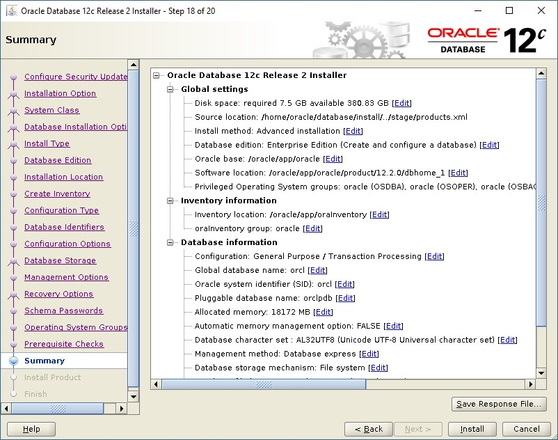 Steps to Install Oracle Database 12c Release 2 in Redhat
